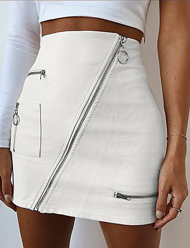 זול מכנסיים וחצאיות-אחיד - חצאיות מיני פוליאוריתן צינור בגדי ריקוד נשים לבן S M L