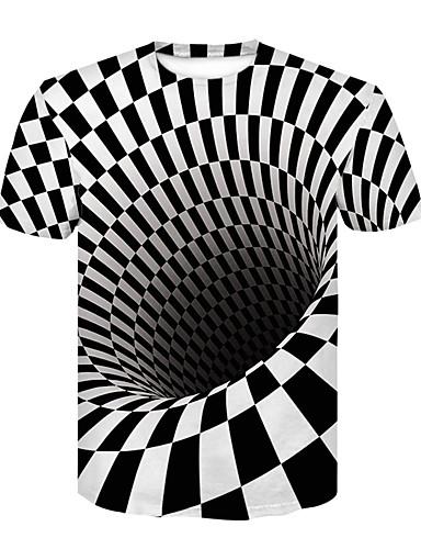 preiswerte Einfarbig-Herrn 3D - Grundlegend / Street Schick Klub T-shirt, Rundhalsausschnitt Druck Schwarz & Weiß Weiß / Kurzarm / Sommer