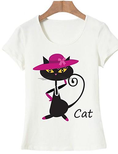 billige T-skjorter til damer-Bomull T-skjorte Dame - Dyr, Trykt mønster Grunnleggende Ut på byen Hvit