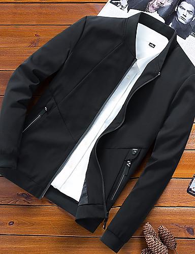 preiswerte Herrenjacken-Herrn Alltag Street Schick Herbst Winter Standard Jacke, Zeitgenössisch Rundhalsausschnitt Langarm Polyester Schwarz / Marineblau / Armeegrün
