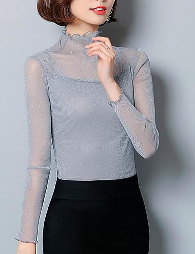 billige T-skjorter til damer-Tynn Crew-hals T-skjorte Dame - Ensfarget, Netting Grunnleggende Beige