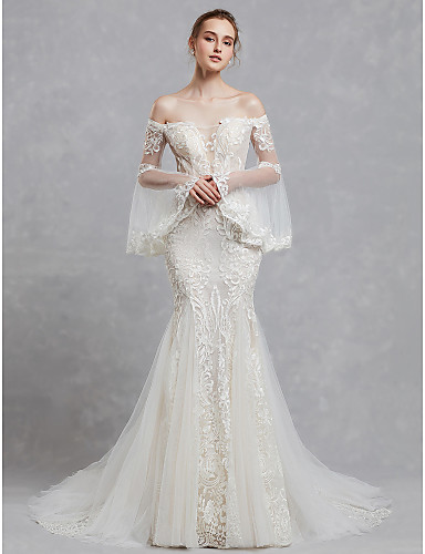 1fe7c2ee2a08f Mermaid / Trumpet Off Shoulder Court Train Lace / Tulle Made-To-Measure Wedding  Dresses with Appliques / Lace by LAN TING BRIDE® 6823557 2019 – $209.99