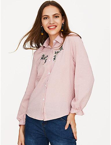 billige Skjorter til damer-Bomull Løstsittende Skjortekrage Skjorte Dame - Ensfarget / Stripet, Broderi Dusty Rose Rosa
