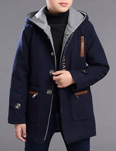 preiswerte Kinder Mode Kollektion Ausverkauf-Kinder Jungen Grundlegend Solide Jacquard Langarm Baumwolle Trenchcoat Marineblau