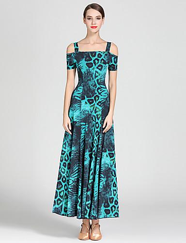 cheap Ballroom Dancewear-Ballroom Dance Dress Draping Pattern / Print Women's Training Performance Short Sleeve High Ice Silk