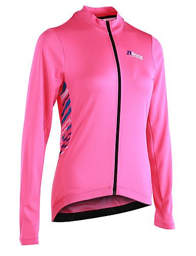povoljno Odjeća za vožnju biciklom-21Grams Žene Dugih rukava Biciklistička majica - Pink Dungi Bicikl Biciklistička majica, Reflektirajuće trake Povratak džep 100% poliester / Mikroelastično / Napredan / YKK patent zatvarač