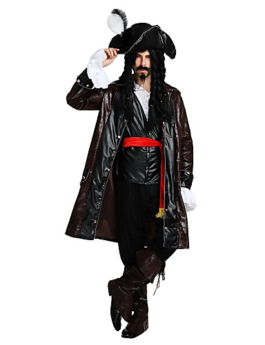 povoljno Maske i kostimi-Pirates of the Caribbean Gusari Kostim Muškarci Odrasli Halloween Halloween Karneval Maškare Festival / Praznik Polyster odjeća Braon Jednobojni Halloween
