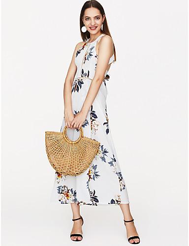 levne Maxi šaty-Dámské Dovolená Šaty - Květinový, Volná záda Tisk Maxi Ramínka