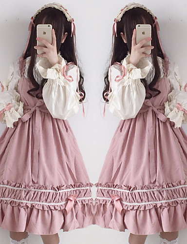 cheap Lolita Dresses-Sweet Lolita Dress Girls' Female Japanese Cosplay Costumes Black / Red / Pink Stitching Lace Juliet Sleeve Long Sleeve