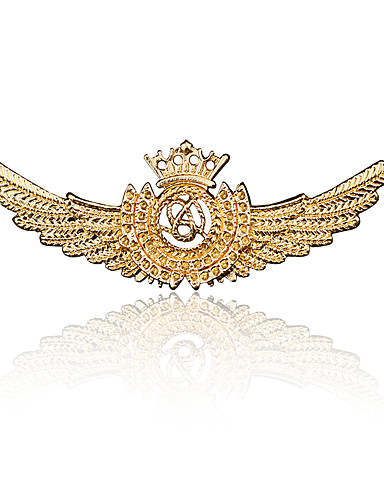 cheap Clearance-Men's Cubic Zirconia Brooches Vintage Style Stylish Wings Medal Statement Vintage Fashion Imitation Diamond Brooch Jewelry Bronze Gold Silver For Daily Holiday