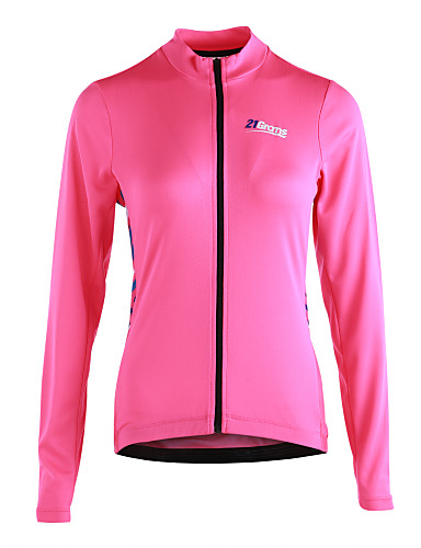 cheap Cycling Jerseys-21Grams Women's Long Sleeve Cycling Jersey Cycling Jacket - Pink Stripe Bike Jersey, Reflective Strips Back Pocket 100% Polyester / Micro-elastic / Advanced / YKK Zipper / Italy Imported Ink