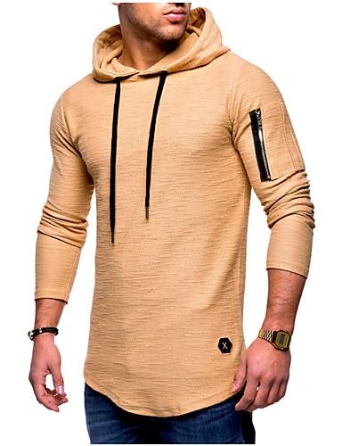 voordelige Heren T-shirts & tanktops-Heren Standaard T-shirt Katoen Effen Capuchon Grijs / Lange mouw