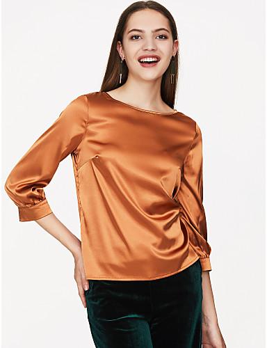 billige Dametopper-Bluse Dame - Ensfarget, Moderne Stil Ut på byen Dusty Rose Grå / Sateng