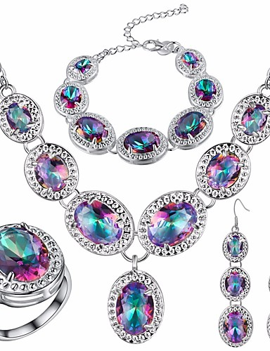 cheap Sterling Silver Jewelry Sets-Women's Opal AAA Cubic Zirconia High End Crystal Statement Ring Vintage Necklace Earrings Vintage Style Retro Oval Cut Statement Ladies European Elegant fancy Iridescent Silver Plated Earrings Jewelry