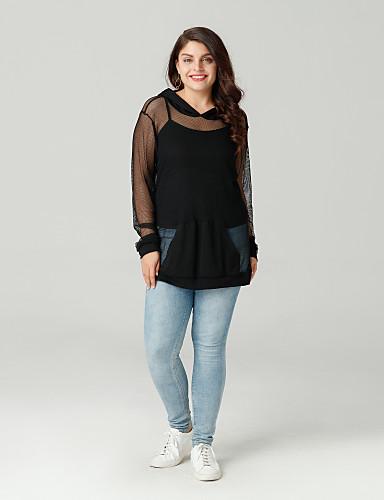 billige Dametopper-Store størrelser T-skjorte Dame - Ensfarget Ut på byen