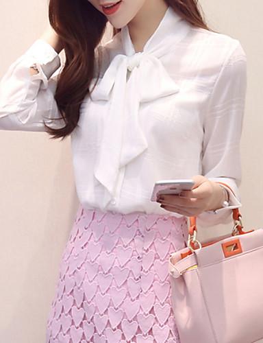 billige Skjorter til damer-Tynn V-hals Skjorte Dame - Ensfarget, Blondér Grunnleggende Hvit