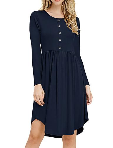 preiswerte Herbst- und Winterkleider-Damen Grundlegend A-Linie Kleid Solide Knielang