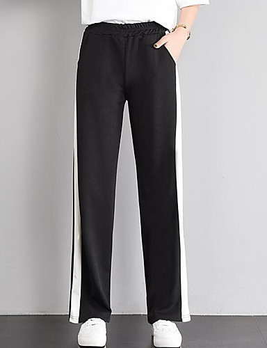 0b33e392487 Women s Street chic Plus Size Wide Leg Pants - Color Block Black   Red Black  L 6856414 2019 –  10.49