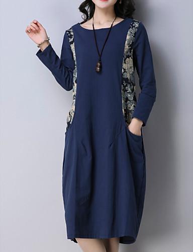 88347c98d827 Γυναικεία Βασικό Φαρδιά T Shirt Φόρεμα - Μονόχρωμο Φλοράλ Μίντι 6893583  2019 –  21.99