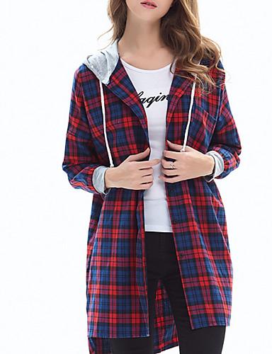 billige Skjorter til damer-Bomull Tynn Skjorte Dame - Ruter, Blondér / Lapper / Trykt mønster Grunnleggende Grønn