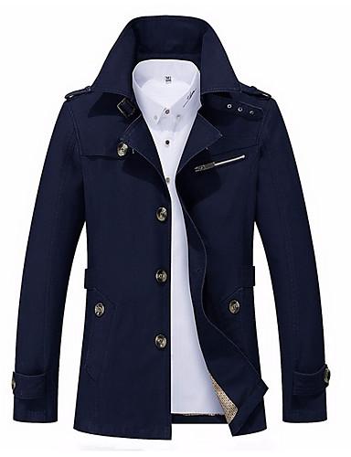 preiswerte Normale Jacken-Herrn Alltag Herbst Winter Standard Jacke, Zeitgenössisch Ständer Langarm Polyester Marineblau / Gelb / Khaki