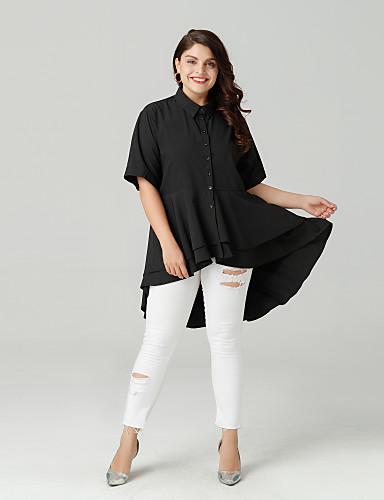 billige Dametopper-Skjortekrage Store størrelser Skjorte Dame - Ensfarget Ut på byen