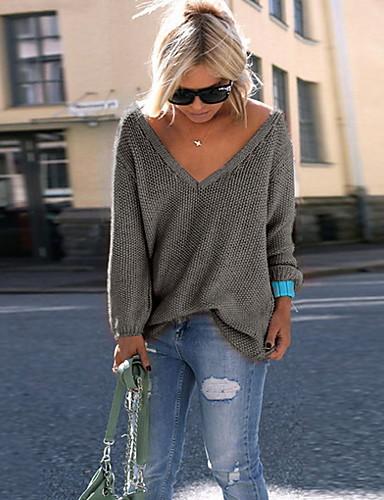 billige Dametopper-Dame Daglig Ensfarget Langermet Store størrelser Normal Pullover Genserjumper, V-hals Svart / Hvit / Rosa S / M / L