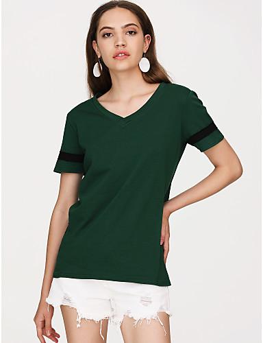 billige Dametopper-Bomull Løstsittende V-hals T-skjorte Dame - Ensfarget Grønn