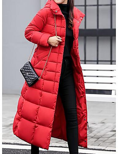 preiswerte Damenbekleidung-Damen Alltag Freizeit Solide Maxi Gefüttert, Polyester Langarm Winter Mit Kapuze Rote / Grau / Armeegrün XL / XXL / XXXL