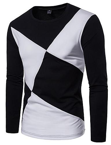 voordelige Uitverkoop-Heren Actief Patchwork T-shirt Effen Ronde hals Wit / Lange mouw
