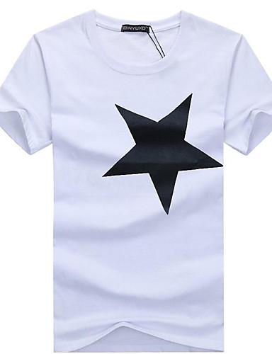 preiswerte Oberteile-Herrn Grafik T-shirt, Rundhalsausschnitt Schwarz / Kurzarm