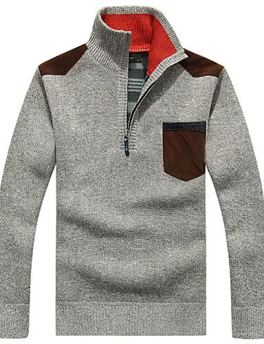 preiswerte Modische Herrencardigans-Herrn Alltag Solide Langarm Standard Strickjacke Pullover Jumper, Rundhalsausschnitt Rote / Braun / Dunkelgray M / L / XL