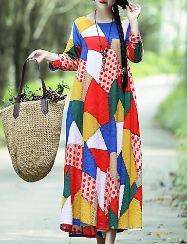 preiswerte Herbst- und Winterkleider-Damen Lose Swing Kleid - Druck, Einfarbig Maxi