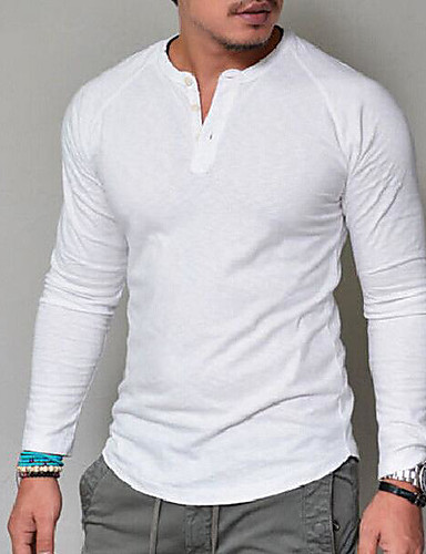 cheap Henley Shirts-Men's Daily T-shirt Graphic Solid Colored Long Sleeve Tops Basic V Neck White Red Navy Blue