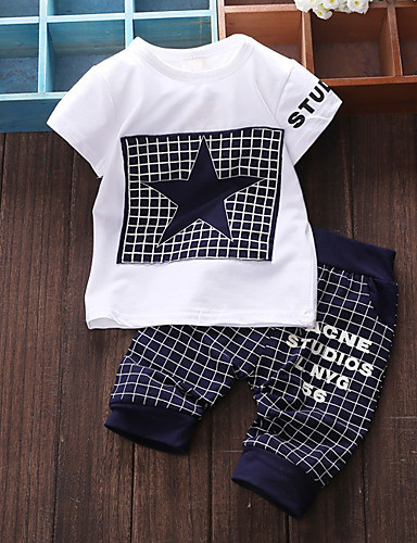 cheap Kids in home-Baby Boys' Basic Daily Patchwork Patchwork Short Sleeve Regular Cotton Clothing Set Navy Blue / Toddler