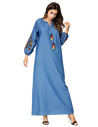 voordelige Maxi-jurken-Dames Katoen Recht Jurk Midi