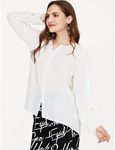 preiswerte Leicht zu tragende Shirt-Kleider-Damen Solide Bluse, V-Ausschnitt Weiß