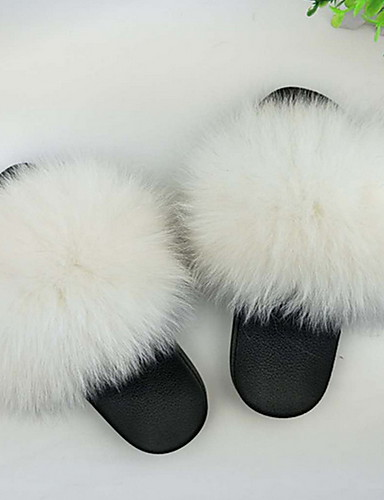 cheap 11.11 - Home Textiles Best Sale-Women's Slippers House Slippers Ordinary Fox Fur solid color Shoes