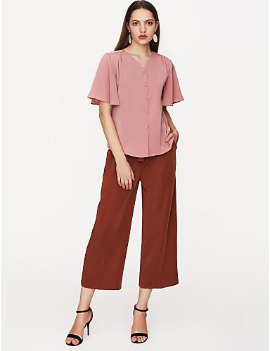 billige Dametopper-V-hals Bluse Dame - Ensfarget Dusty Rose Hvit / flare Sleeve