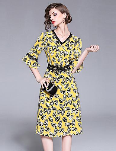 4e5bd1dddaa3 Dame I-byen-tøj Vintage   Sofistikerede Stort Ærme Tynd A-linje Kjole -  Blomstret