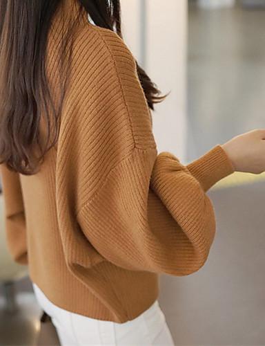 billige Dametopper-Dame Jul / Daglig Grunnleggende Ensfarget Langermet Normal Pullover Genserjumper, Rund hals Høst Svart / Hvit / Rød En Størrelse