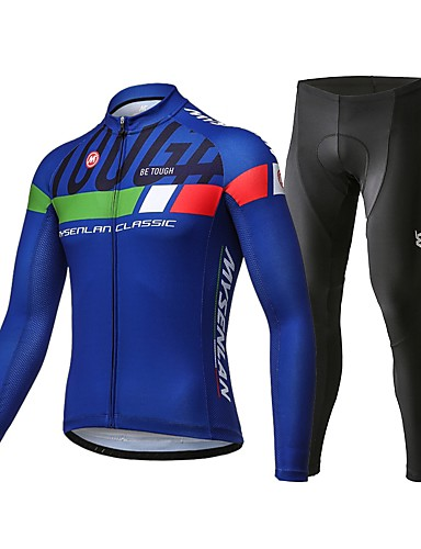 Mysenlan Womens Cycling Long Sleeve Breathable Jersey Set 3D Padded Long Pants Bike Shirt Bicycle Tights Clothing Blue