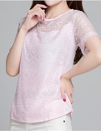 billige Dametopper-Tynn T-skjorte Dame - Ensfarget, Blonde Gatemote Ut på byen Svart / Sommer / Blonder