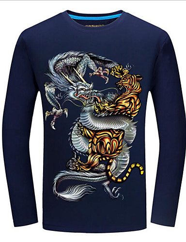 8f76897bde3 Ανδρικά Μεγάλα Μεγέθη T-shirt Κομψό στυλ street Ζώο Στρογγυλή Λαιμόκοψη  Στάμπα Τίγρης Μαύρο XXXXL / Μακρυμάνικο / Άνοιξη / Φθινόπωρο 6872431 2019 –  $15.99