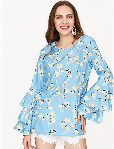 billige Dametopper-Bomull Løstsittende T-skjorte Dame - Grafisk, Trykt mønster Grunnleggende Ut på byen Blå / Sommer / flare Sleeve / Blomstret