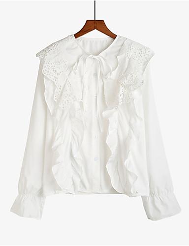 billige Skjorter til damer-Bomull V-hals Skjorte Dame - Ensfarget / Blomstret / Fargeblokk, Utskjæring / Drapering / Blondér Vintage Hvit / Lapper