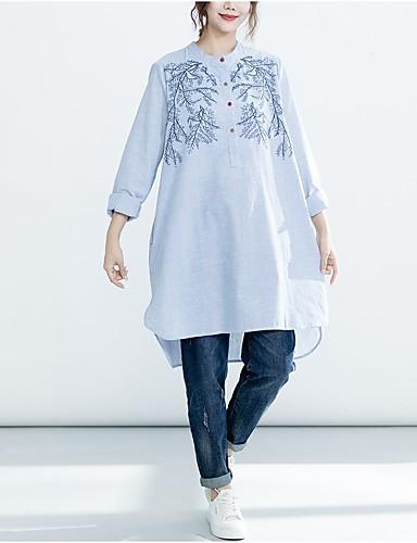 billige Dametopper-Bomull Skjortekrage Store størrelser Skjorte Dame - Ensfarget Rød