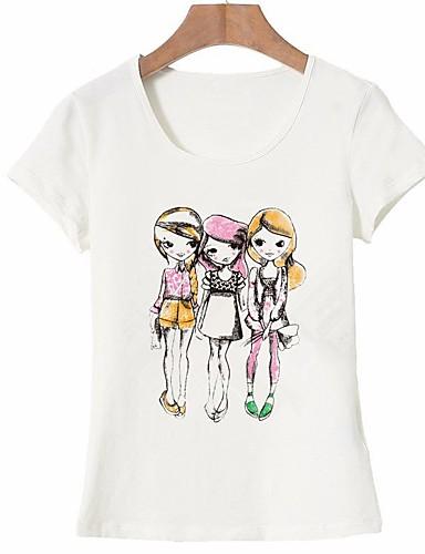 billige Dametopper-Bomull T-skjorte Dame - Portrett, Trykt mønster Grunnleggende Ut på byen Hvit