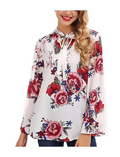 preiswerte Damenbekleidung-Damen Blumen - Grundlegend Bluse, Ständer Weiß