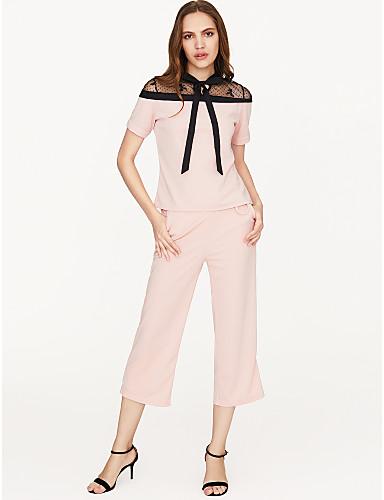 preiswerte Damen zweiteilige Anzüge-Damen Bluse / Set - Solide, Spitze / Breites Bein Rundhalsausschnitt Hose / Sommer